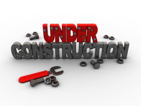 3d illustration of under construction sign with wrench and nuts illustration