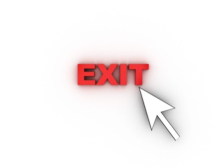 3d illustration of mouse cursor and text 'exit' over white background Stock Illustration - 4011315