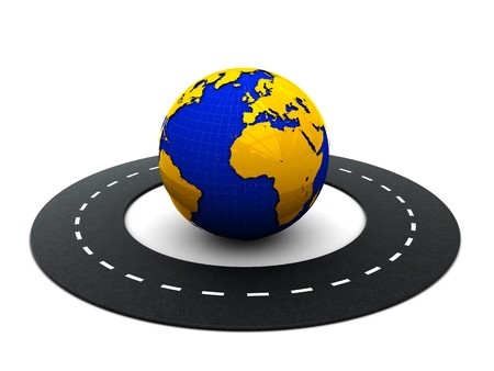 3d illustration of road around the earth on white background