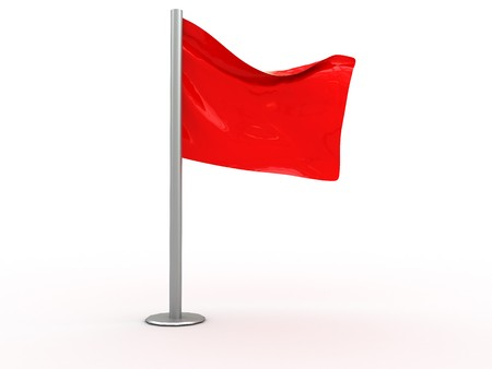 3d illustration of red flag isolated over white background