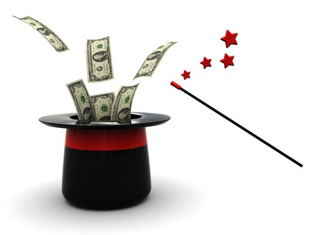 harry: 3d illustration of magic hat with dollars, over white background