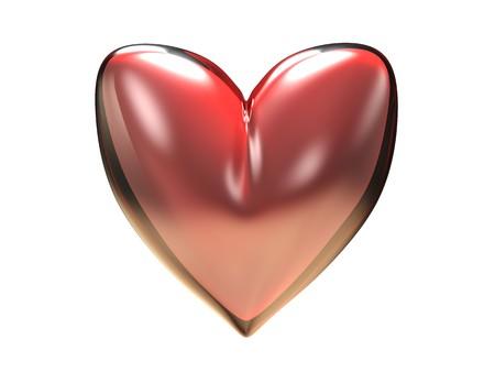rubin: 3d illustration of red heart isolated over white background