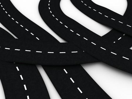 3d illustration of road knot over white background Stock Illustration - 4011332