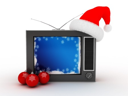 3d illustration of retro christmas television