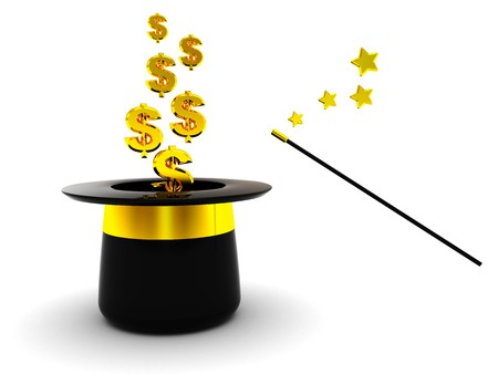 easy: 3d illustration of magic hat and dollar signs Stock Photo