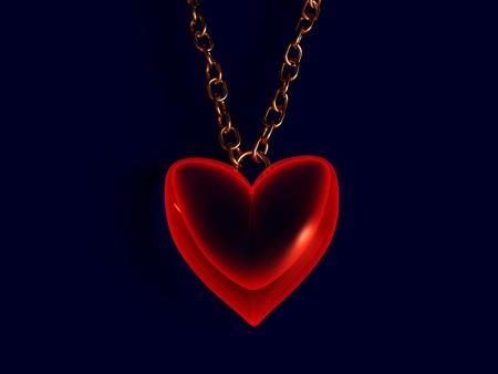 rubin: 3d illustration of red heart over dark background