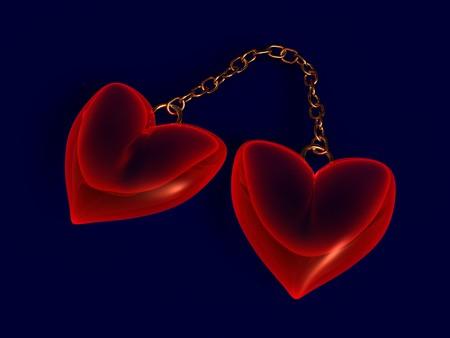 rubin: 3d illustration of two hearts over dark background