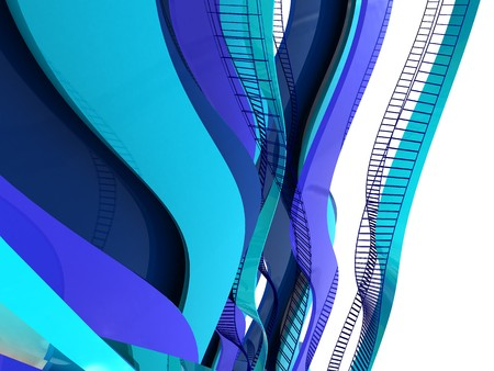 abstract 3d render of blue curves background photo