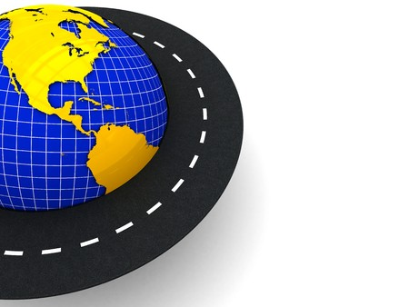 drive around the world: 3d illustration of background with road around the earth on left side