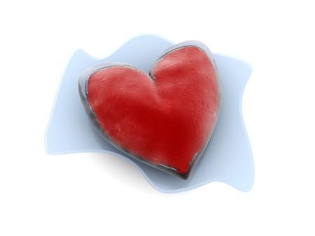 rubin: 3d illustration of frozen heart, melting, over white background Stock Photo