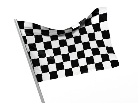 3d illustration of start symbol, checkered flag illustration