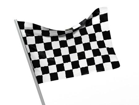 3d illustration of start symbol, checkered flag illustration