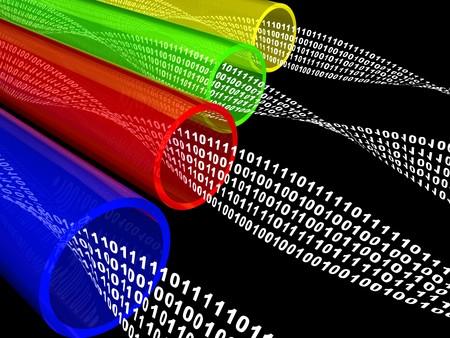 3d ilustración de la fibra óptica con el flujo de datos, sobre fondo negro