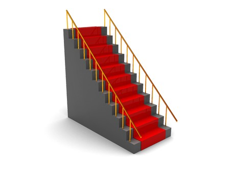 3d illustration of stairs with red carpet over white background
