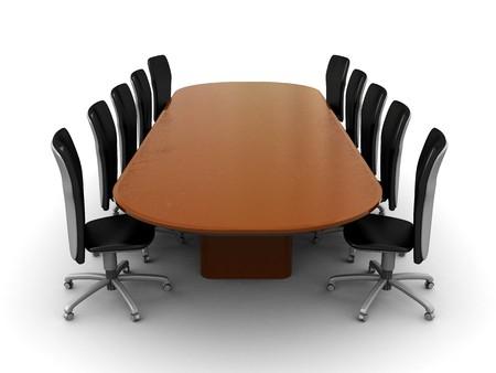3d illustration d'une réunion d'affaires, table, sur fond blanc