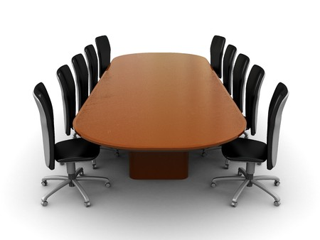 the council: 3d illustration of business meeting, table, over white background