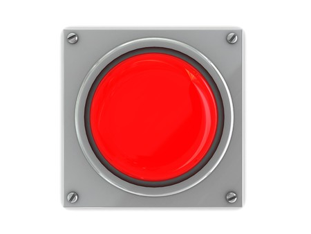 red button on steel plate over white background Stock Photo - 4070057