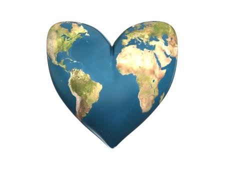 frendship: 3d illustration of heart shaped earth
