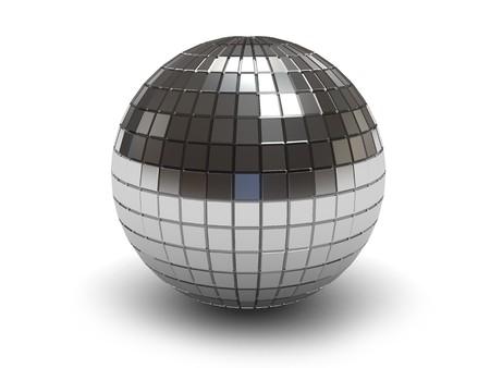 3d illustration of disco ball over white background