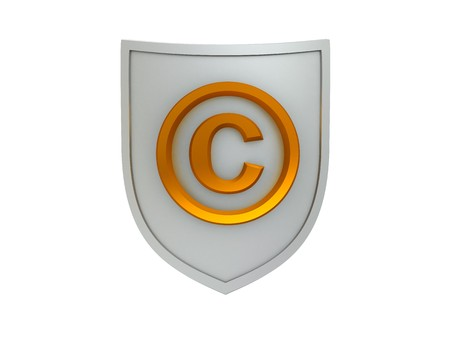 3d illustration of shield with copyright sign isolated over white background Stock Illustration - 4085652