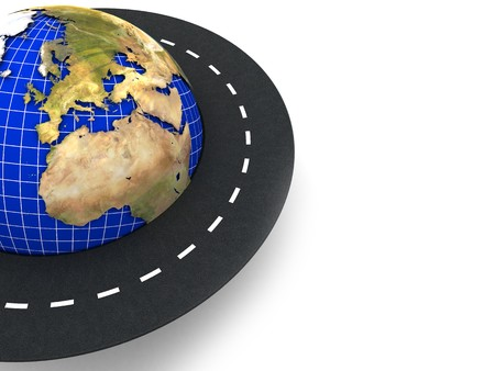 drive around the world: 3d illustration of earth and road around it over white background