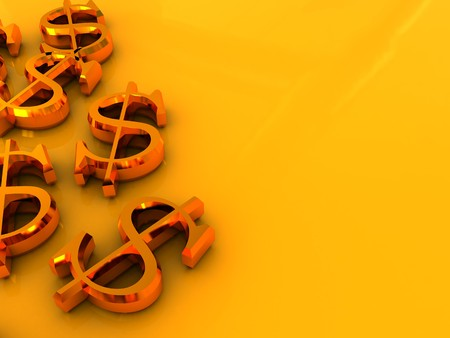 dollar signs: abstract 3d illustration of dollar signs over golden background Stock Photo