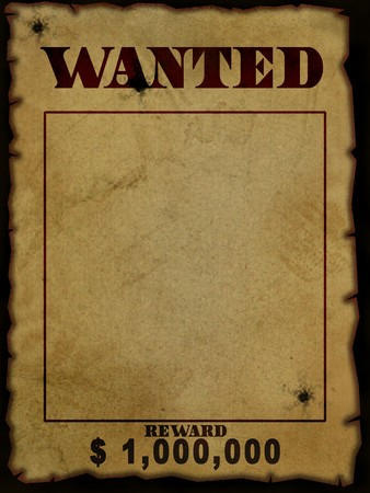 texure or background of old west wanted poster over black background photo
