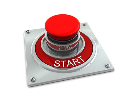 3d illustration of red button with text 'start' over white background Stock Illustration - 4122698