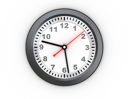 3d illustration of simple wall clock over white background