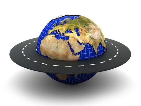 3d illustration of road around earth over white background
