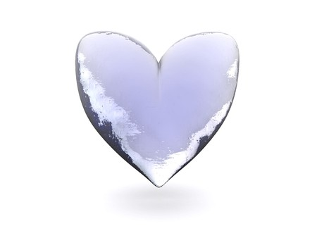 iciness: 3d illustration of frozen heart symbol over white background