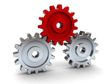 leader concept: 3d illustration of three gear wheels, leader concept Stock Photo