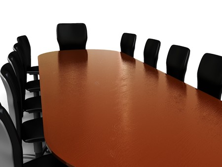 the council: 3d illustration of business meeting, table and chairs Stock Photo