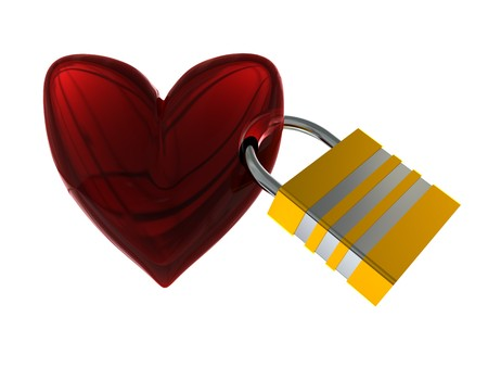 3d illustration of locked heart isolated over white background Stock Illustration - 4122716