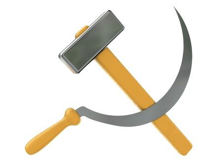 communistic: 3d ilustraci�n de la hoz y el martillo, s�mbolo sovi�tico Foto de archivo