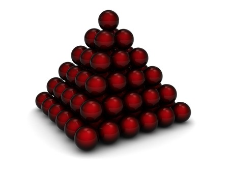organized: abstract 3d illustration of spheres pyramid over white