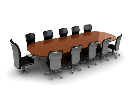 front office: 3d illustration of table, business meeting, over white background
