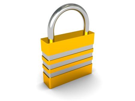 3d illustration of the lock over white background Stock Illustration - 4122713