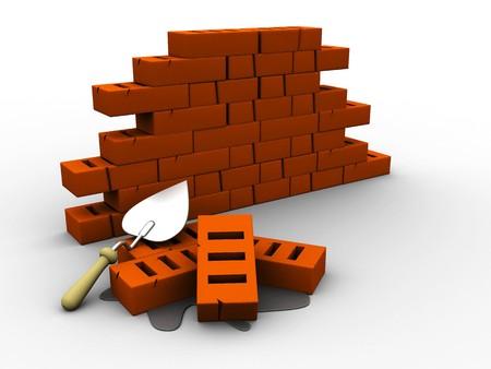 grader: 3d illustration of bricks, wall construction