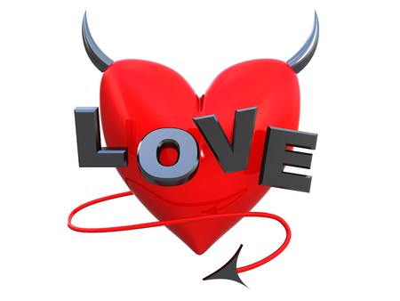 3d illustration of heart symbol with horns Stock Illustration - 4146546