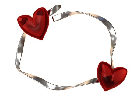 3d illustration of two hearts and silver ribbon, frame or background illustration