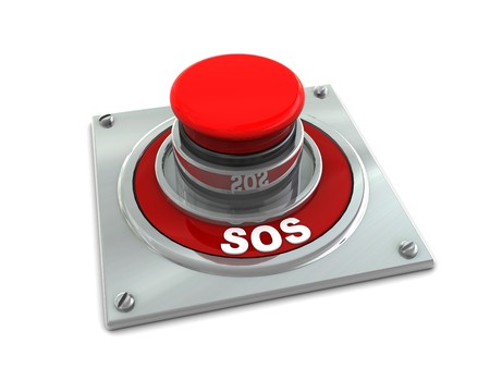 dependency: 3d illustration of red button with text sos on it, white background