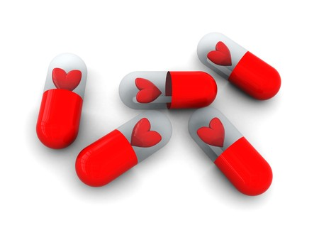 3d illustration of some pills with hearts inside illustration