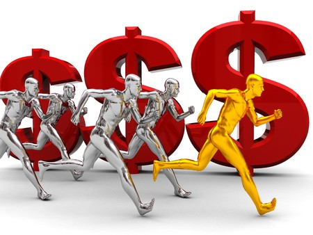 3d illustration of team with leader run to success over money signs illustration