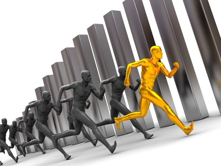 3d illustration, group of men running forward with diagram bars at background