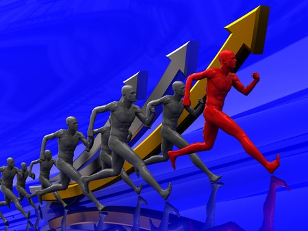 3d illustration of team with leader runing to success illustration