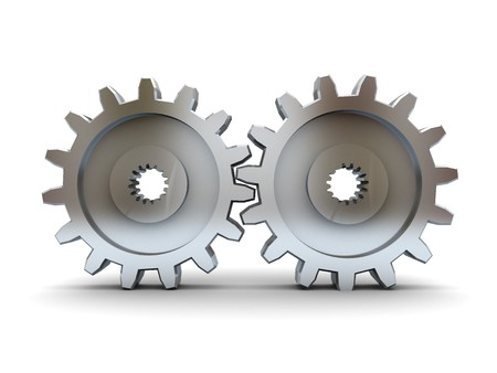 gearshift: 3d illustration of two gear wheels over white background