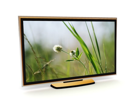 3d illustration of plasma tv with meadow view on it illustration