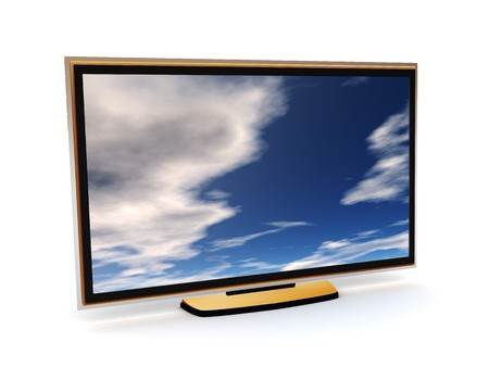 wideview: 3d illustration of modern liquid crystal tv Stock Photo
