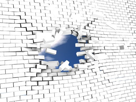 3d illstration of breaking wall to freedom photo